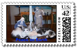 Black and Orange Cat Foundation stamps on Zazzle.com